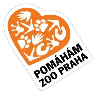 Samolepka Pomáhám Zoo Praha - oranžová