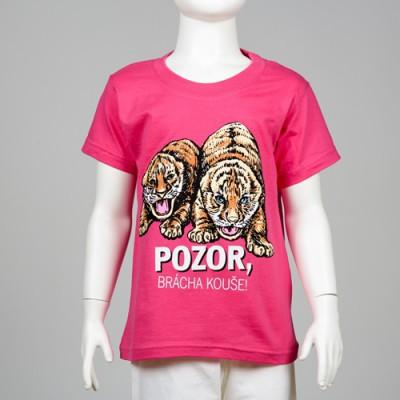 """Dětské tričko s motivem tygřat -  """"Pozor, brácha kouše!"""""""