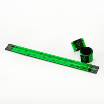 Reflexní pásek – zelený s motivem stopy velemloka