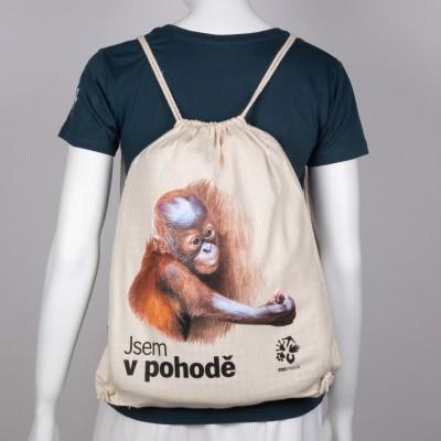Plátěný batůžek s mládětem orangutana sumaterského