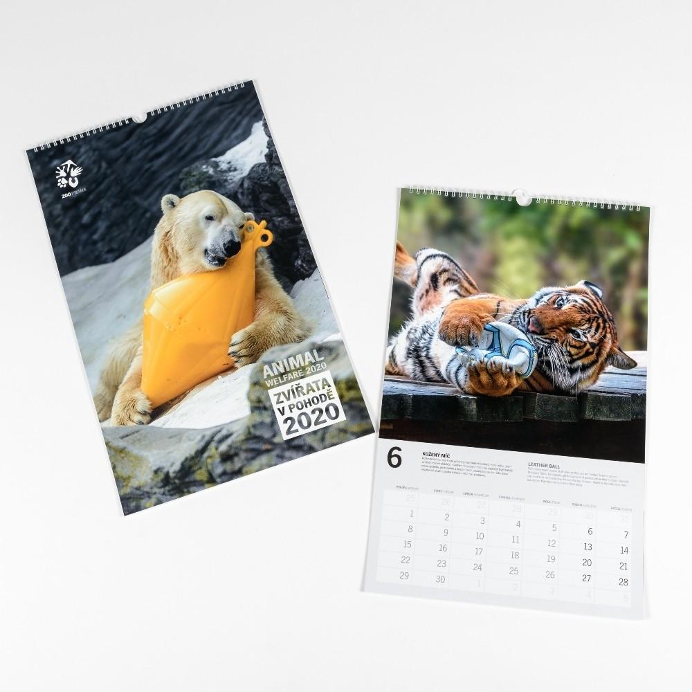 """Nástěnný kalendář Zoo Praha  2020 """"Zvířata v pohodě"""""""