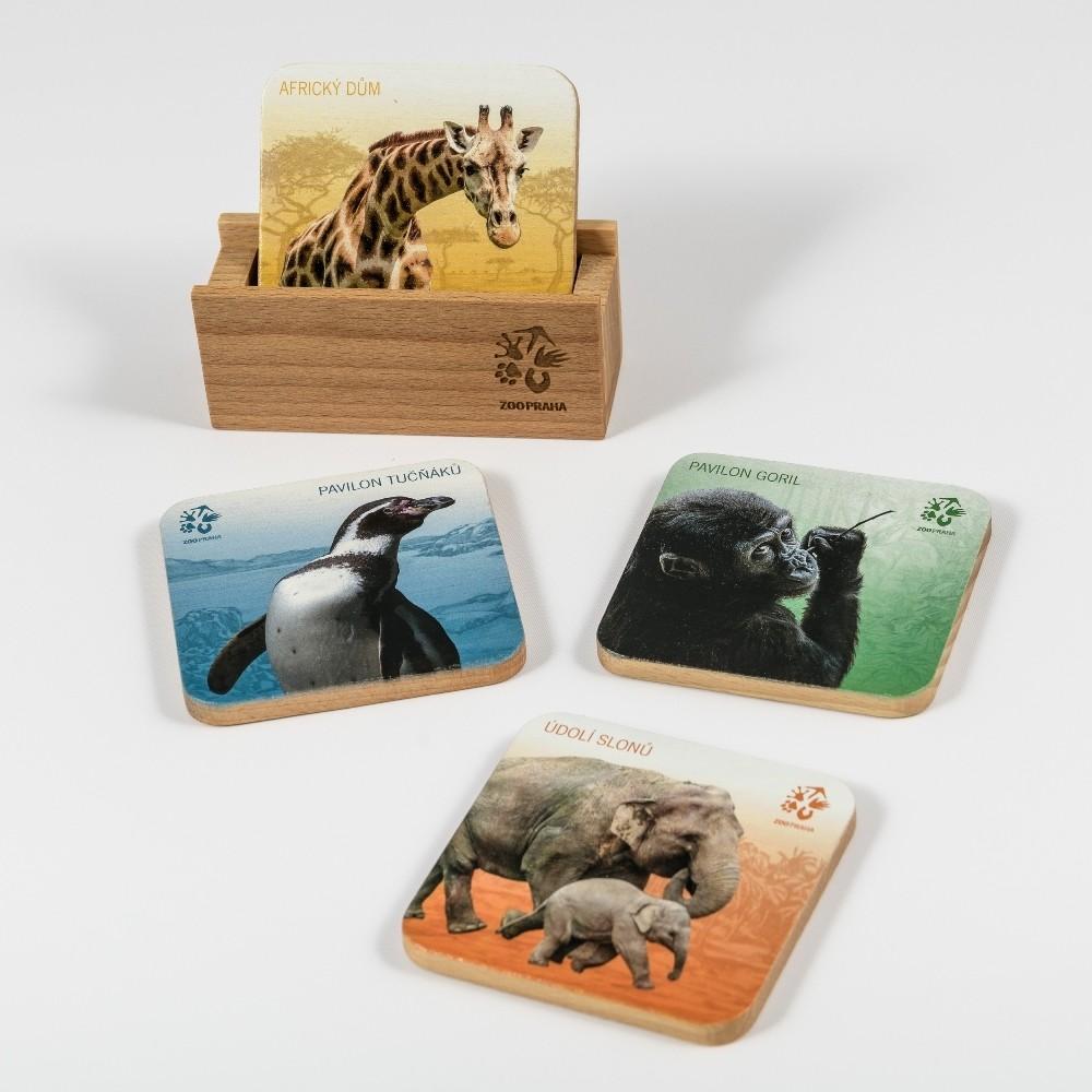 Sada dřevěných podtácků Zoo Praha
