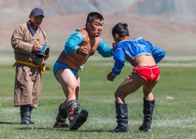 Fotoobraz - Klání v tradičním mongolském zápase během nádamu