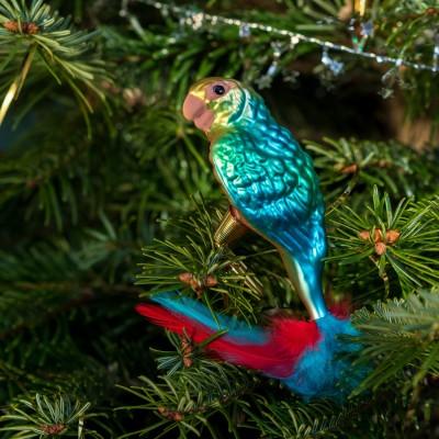 Ručně malovaná vánoční ozdoba s motivem papouška – kogna jižní