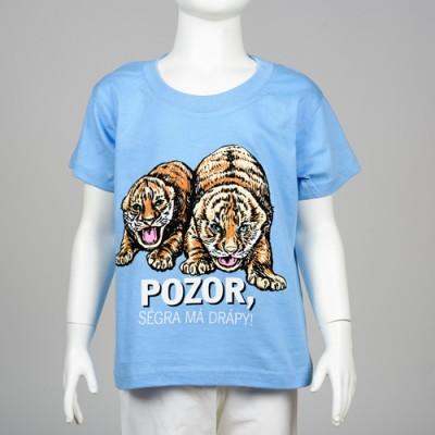 """Dětské tričko s motivem tygřat -  """"Pozor, ségra má drápy!"""""""