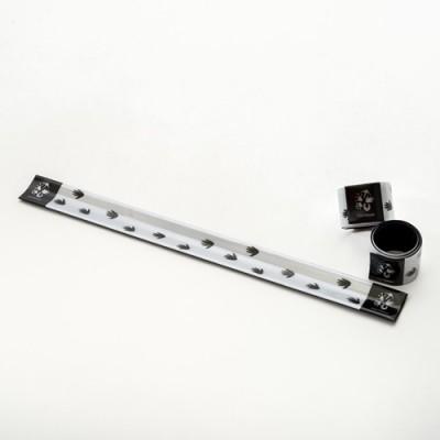 Pásek reflexní - stříbrný se stopou varana komodského