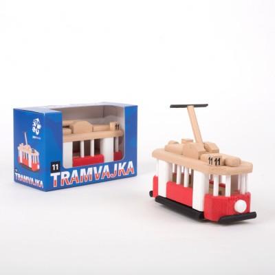 Dřevěný model dětské tramvajky ze Zoo Praha