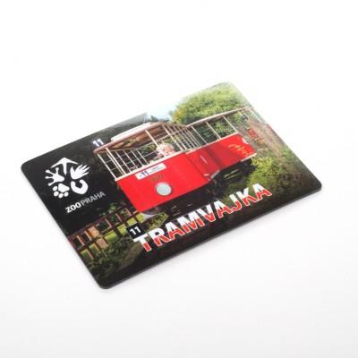 Magnetka s motivem dětské tramvajky ze Zoo Praha