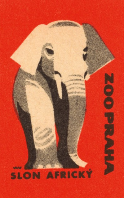 Retro blok s motivem slona