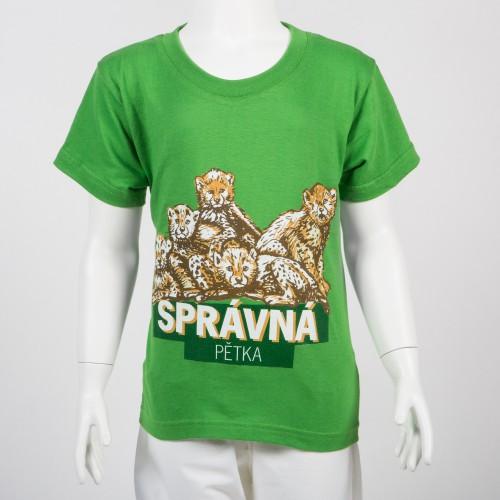 """e9baf30cc615 Pánské tričko """"Správná pětka"""" gepard-S-zelená"""