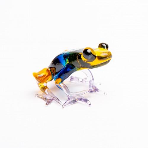Šípová žába – ručně vyrobená figurka z českého skla