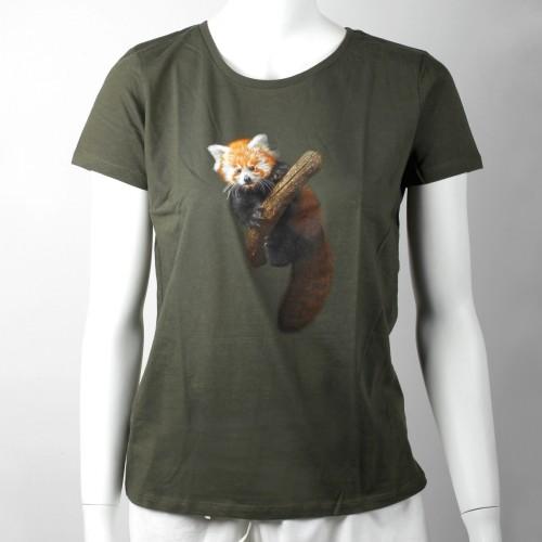 Dámské tričko s mládětem pandy červené