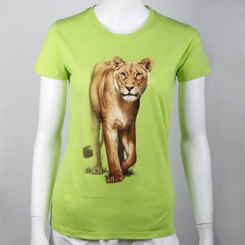 Bavlněné dámské tričko s motivem lvice