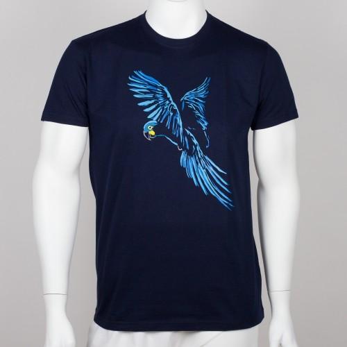Bavlněné pánské tričko s motivem papouška - ara Learův
