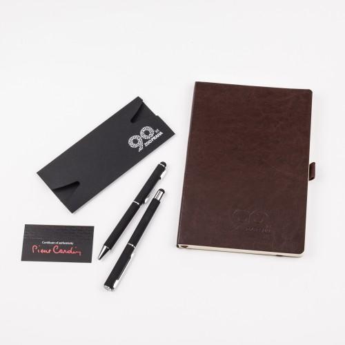 Zvýhodněný balíček sady luxusních per a poznámkového bloku v hnědé barvě