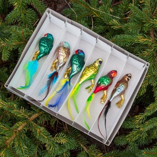 Ručně malovaná vánoční ozdoba s motivem papouška – charmozin Stellin