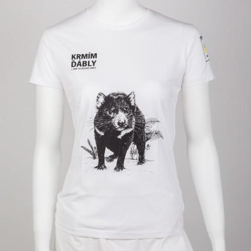 Dámské tričko KRMÍM ĎÁBLY - bílé