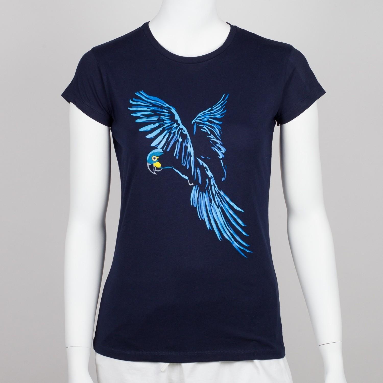 Bavlněné dámské tričko s motivem papouška - ara Learův