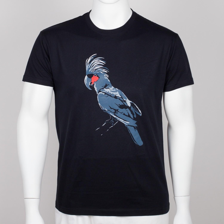 Bavlněné pánské tričko s motivem papouška – kakadu palmový